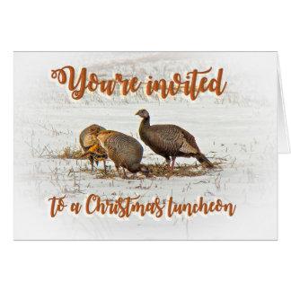 Invitation de déjeuner de Noël - dindes sauvages