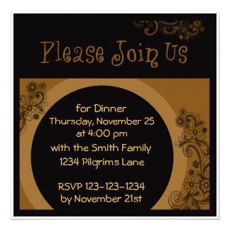 Invitation de dîner de bon thanksgiving