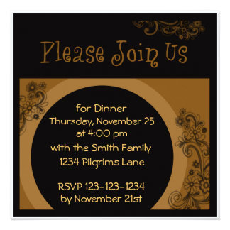 Invitation de dîner de bon thanksgiving carton d'invitation  13,33 cm
