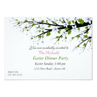 Invitation de dîner de Pâques de fleurs de