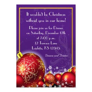 Invitation de dîner de pourpre royal de Noël