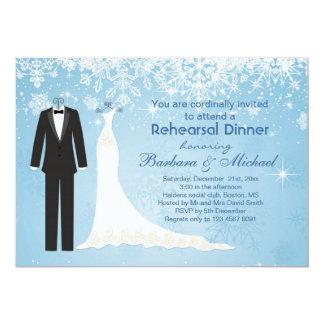 Invitation de dîner de répétition de flocons de carton d'invitation  12,7 cm x 17,78 cm