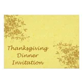 Invitation de dîner de thanksgiving avec des fleur