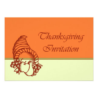 Invitation de dîner de thanksgiving avec la corne