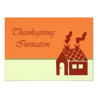 Invitation de dîner de thanksgiving avec la maison carton d'invitation  12,7 cm x 17,78 cm