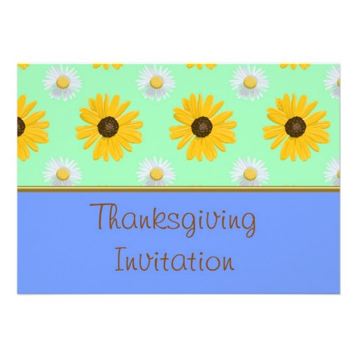 Invitation de dîner de thanksgiving avec les fleur