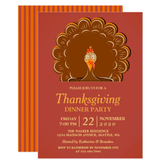 Invitation de dîner de thanksgiving de la Turquie