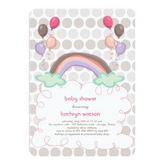 Invitation de douche d'arc-en-ciel et de bébé de