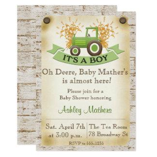 Invitation de douche de bébé - tracteur vert