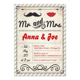 Invitation de douche de couples de moustache et de