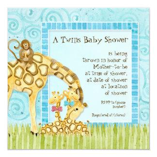Invitation de douche de jumelles de fille de bébé carton d'invitation  13,33 cm