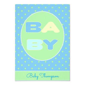 Invitation de douche des textes de bébé (bleue)