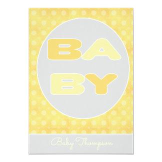 Invitation de douche des textes de bébé (jaune)
