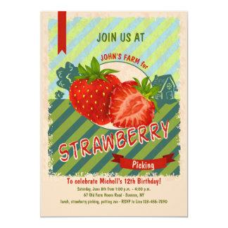 Invitation de ferme de fraise