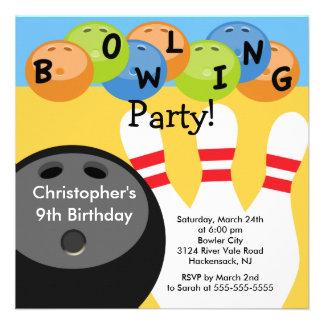 Invitation de fête d anniversaire de bowling rétro