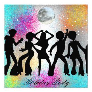 Invitation de fête d anniversaire de disco de dans