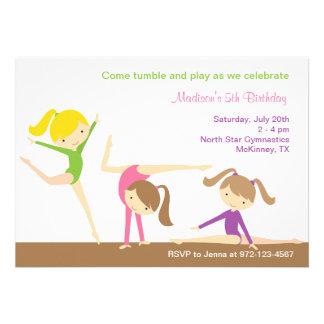 Invitation de fête d anniversaire de filles de gym