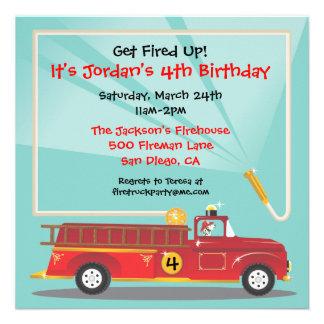 Invitation de fête d anniversaire de Firetruck