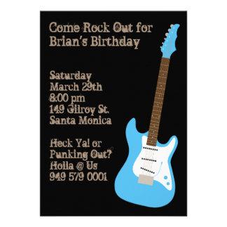Invitation de fête d anniversaire de guitare