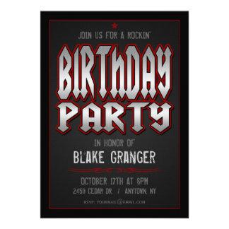Invitation de fête d anniversaire de rock
