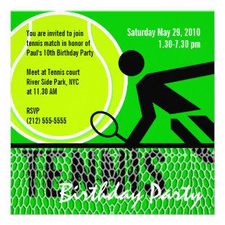 Invitation de fête d anniversaire de tennis