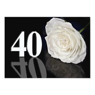 Invitation de fête d'anniversaire 40 années carton d'invitation  12,7 cm x 17,78 cm