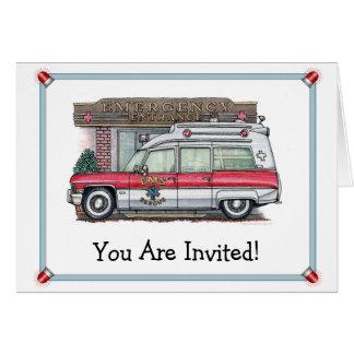 Invitation de fête d'anniversaire d'ambulance