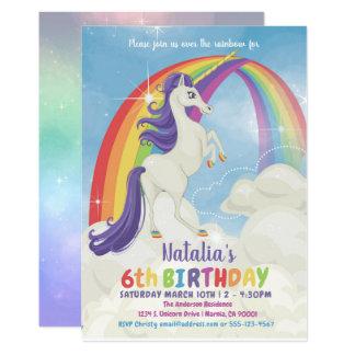 Invitation de fête d'anniversaire d'arc-en-ciel de