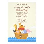 Invitation de fête d'anniversaire d'arche de Noahs Carton D'invitation 12,7 Cm X 17,78 Cm
