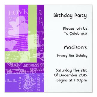 Invitation de fête d'anniversaire de bloc de