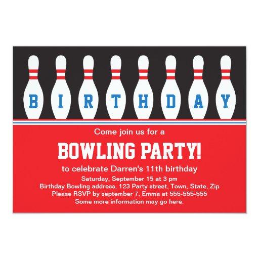 Invitation de fête d'anniversaire de bowling avec   Zazzle