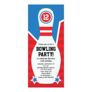 Invitation de fête d'anniversaire de bowling avec carton d'invitation  10,16 cm x 23,49 cm