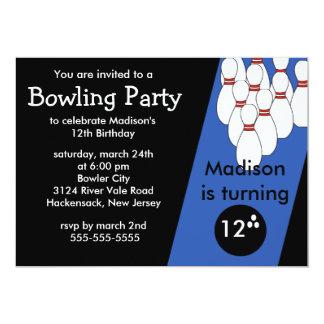 Invitation de fête d'anniversaire de bowling carton d'invitation  12,7 cm x 17,78 cm
