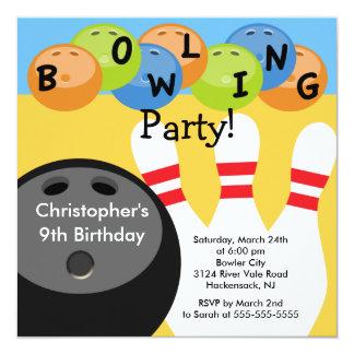 Invitation de fête d'anniversaire de bowling rétro