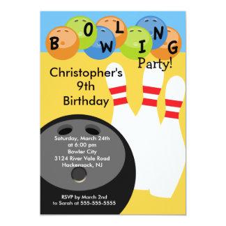 Invitation de fête d'anniversaire de bowling rétro carton d'invitation  12,7 cm x 17,78 cm