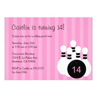 Invitation de fête d'anniversaire de bowling - ros