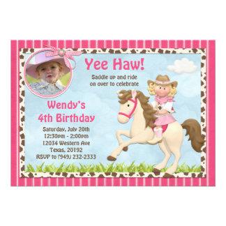Invitation de fête d'anniversaire de cheval de cow