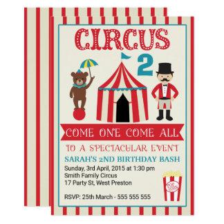 Invitation de fête d'anniversaire de cirque