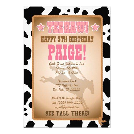 Invitation de fête d'anniversaire de cow-girl