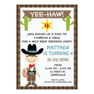 Invitation de fête d'anniversaire de cowboy