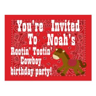 Invitation de fête d'anniversaire de cowboy de