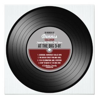 Invitation de fête d'anniversaire de disque vinyle