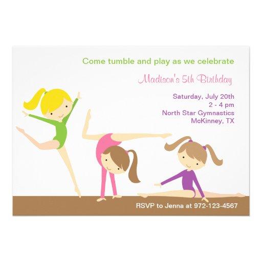 Invitation de fête d'anniversaire de filles de gym