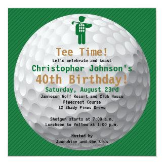 Invitation de fête d'anniversaire de golf d'or carton d'invitation  13,33 cm