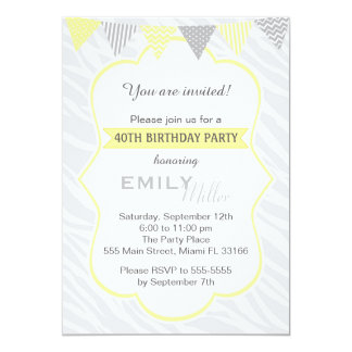 Invitation de fête d'anniversaire de gris jaune de