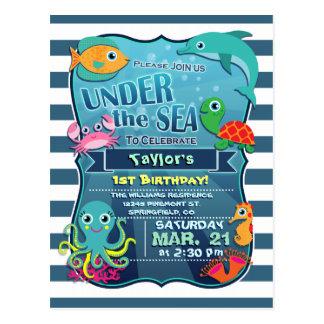 Invitation de fête d'anniversaire de la vie marine