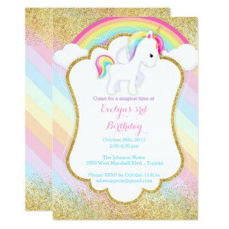Invitation de fête d'anniversaire de licorne -