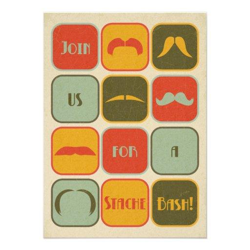 Invitation de fête d'anniversaire de moustache de