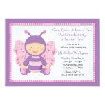Invitation de fête d'anniversaire de papillon de carton d'invitation  12,7 cm x 17,78 cm