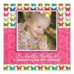 Invitation de fête d'anniversaire de papillon carton d'invitation  13,33 cm